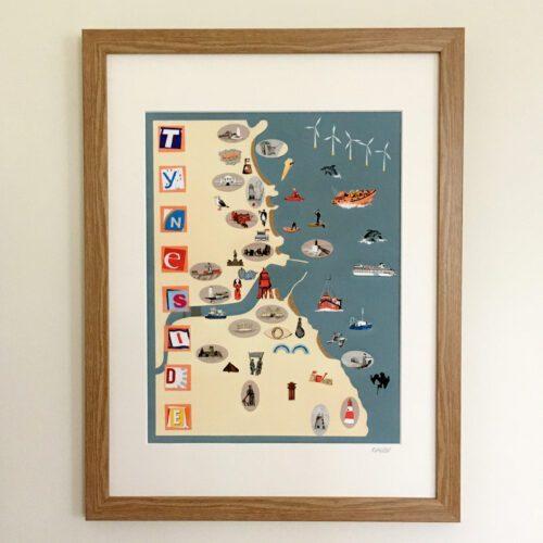 Tyneside-map-framed-on-wall-a